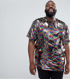 Фестивальная свободная футболка с радугой из пайеток ASOS DESIGN Plus - Мульти