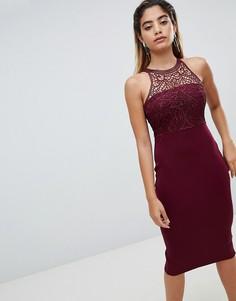 Платье-футляр миди с кружевом AX Paris - Фиолетовый