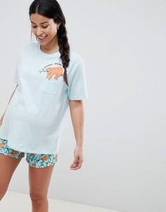 Пижама из футболки и шортов с ленивцем ASOS DESIGN Maternity - Синий