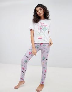 Пижамный комплект в винтажном стиле из футболки и леггинсов ASOS DESIGN - Мульти