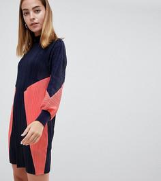 Трикотажное плиссированное платье колор блок ASOS DESIGN Petite - Мульти