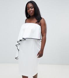 Платье миди бандо с контрастной оборкой ASOS DESIGN Curve - Белый