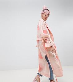 Тренч с цветочным принтом Hello Kitty x ASOS DESIGN - Розовый
