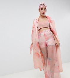 Брюки с широкими штанинами и цветочным принтом Hello Kitty x ASOS DESIGN - Розовый