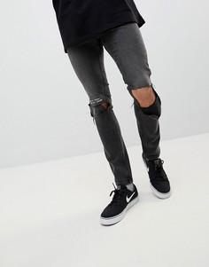 Рваные джинсы скинни Cheap Monday Error Message - Черный
