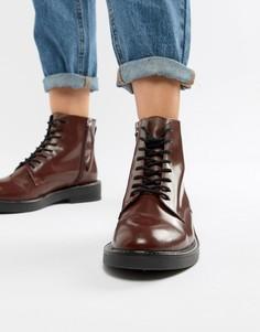Кожаные ботинки на шнуровке ASOS DESIGN - Красный
