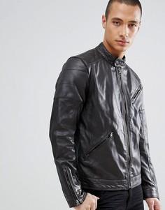 Кожаная байкерская куртка Barneys Originals - Коричневый