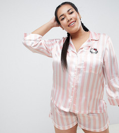 Пижама в полоску Hello Kitty x ASOS DESIGN Curve - Розовый