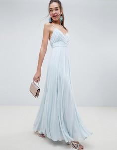 Плиссированное платье макси на бретелях со сборками ASOS DESIGN - Синий