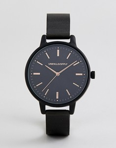 Черные часы с узким сетчатым ремешком ASOS DESIGN - Черный