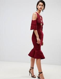 Платье с оборкой на подоле Forever Unique - Красный