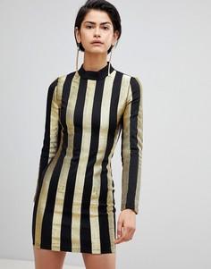 Платье в полоску с высоким воротом Forever Unique - Мульти