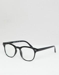 Очки в черной круглой оправе с прозрачными стеклами AJ Morgan - Черный