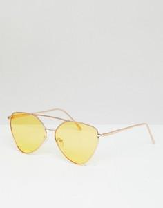 Солнцезащитные очки-авиаторы в золотистой металлической оправе с желтыми стеклами AJ Morgan - Золотой