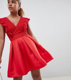 Короткое приталенное платье для выпускного с кружевным лифом и оборками Little Mistress Petite - Красный