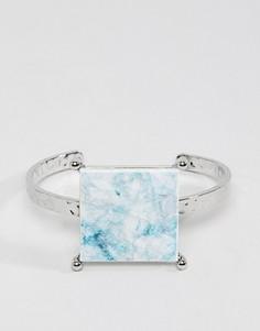 Браслет-манжета с камнем ASOS - Серебряный