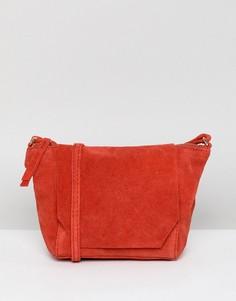 Замшевая сумка через плечо ASOS DESIGN - Красный