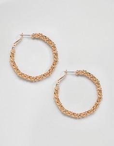 Золотистые серьги-кольца Monki - Золотой