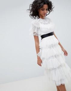 Ярусное платье миди Needle & Thread - Белый