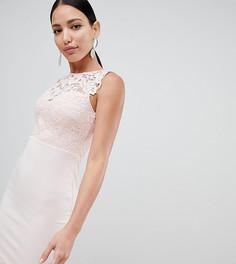 Облегающее платье миди с кружевным топом Lipsy - Розовый