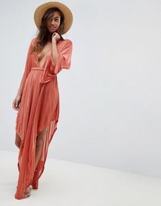 Пляжное платье с длинными рукавами и глубоким вырезом ASOS DESIGN - Красный