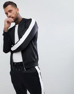 Черная облегающая спортивная куртка с полосками по бокам The Couture Club - Черный