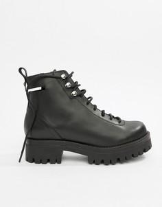 Кожаные ботильоны на шнуровке ASOS DESIGN Premium - Черный