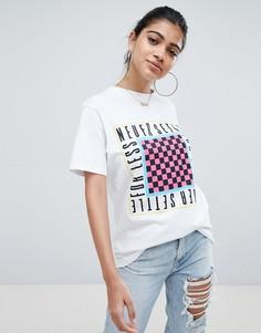 Белая oversize-футболка с принтом never settle for less ASOS DESIGN - Белый