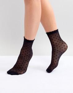 Черные сетчатые носки в горошек Monki - Черный