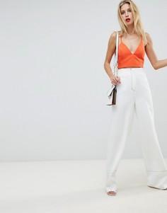 Брюки с широкими штанинами и контрастными строчками ASOS DESIGN Tailored - Белый