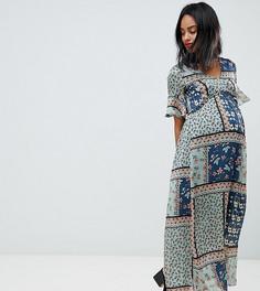 Платье макси в стиле пэтчворк Mamalicious - Мульти Mama.Licious