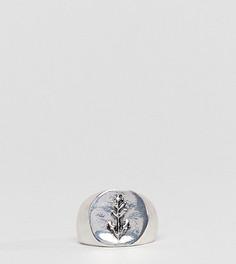 Серебристое кольцо-печатка с гравировкой DesignB London - Серебряный