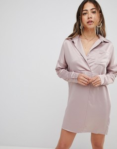 Атласное платье-рубашка Missguided - Розовый