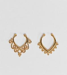 2 серебряных позолоченных кольца для носа ASOS DESIGN - Золотой