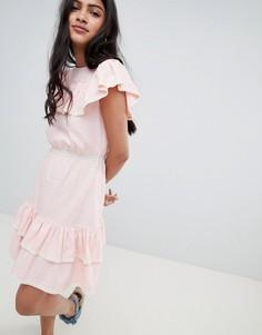 Платье мини с оборками и кружевом Glamorous - Розовый