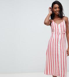 Платье миди в полоску на бретельках Glamorous Tall - Красный