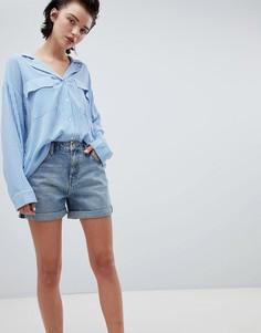 Синие шорты бойфренда с закатанными краями Weekday - Синий