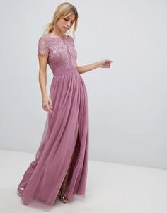 Платье макси с кружевным лифом Little Mistress - Розовый