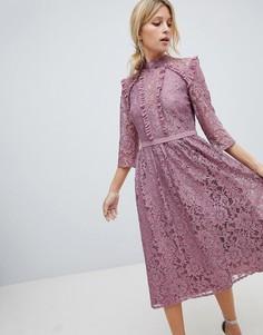 Кружевное платье миди для выпускного Little Mistress - Розовый