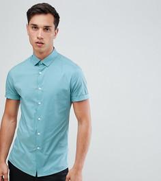 Зеленая облегающая оксфордская рубашка с короткими рукавами ASOS DESIGN Tall - Зеленый