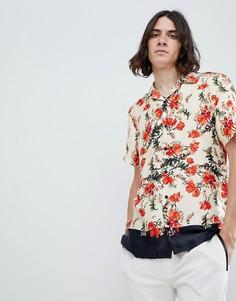Рубашка классического кроя с цветочным принтом и контрастным подолом ASOS DESIGN - Белый