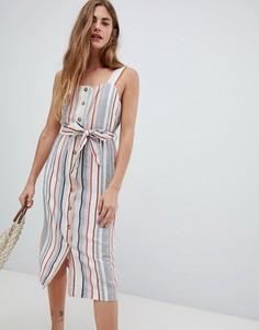 Льняное платье в полоску с пуговицами New Look - Кремовый
