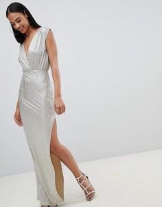 Платье макси металлик с запахом Rare - Золотой