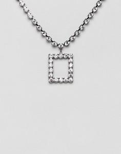 Броское ожерелье с прямоугольной подвеской и стразами ASOS DESIGN - Очистить
