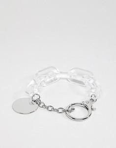 Серебристый браслет с резиновыми звеньями ASOS DESIGN - Золотой
