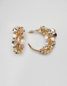 Золотистые серьги-кольца с цветочной отделкой ASOS DESIGN - Золотой