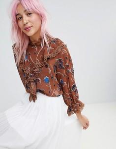 Блузка с цветочным принтом Amy Lynn - Коричневый
