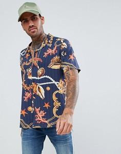 Рубашка классического кроя из вискозы с принтом в стиле барокко ASOS DESIGN - Темно-синий