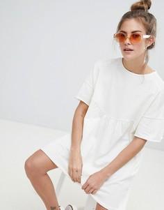 Белое платье-футболка из органического хлопка Pull&Bear - Белый