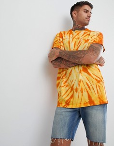 Удлиненная oversize-футболка с отворотами и принтом тай-дай ASOS DESIGN - Желтый